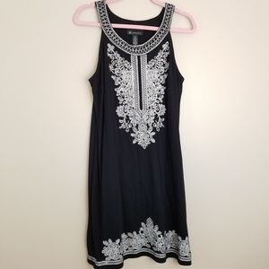 INC black dress silver embroidery sleeveless XL